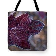 Frosty Maroon Leaf Tote Bag