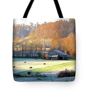 Frosty Morning On The Farm Tote Bag