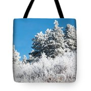 Frosty Mountainside Tote Bag