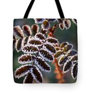Frosty Rose Leaves Tote Bag