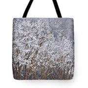 Frozen Trees During Winter Storm Tote Bag