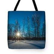 Frozen Trees Under A Winter Sunset Tote Bag