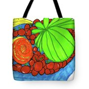 Fruit In A Blue Bowl Tote Bag