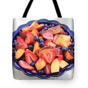Fruit Salad In Blue Bowl Tote Bag
