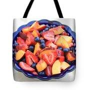 Fruit Salad In Blue Bowl Tote Bag by Carol Groenen