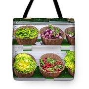 Fruits And Vegetables On A Supermarket Shelf Tote Bag
