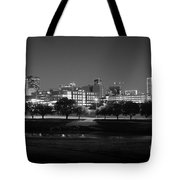 Ft. Worth Texas Skyline Dusk Black And White Tote Bag