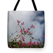 Fuchsia Mexican Coral Vine On White Clouds Tote Bag