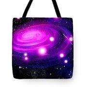 Fuchsia Pink Galaxy, Bright Stars Tote Bag