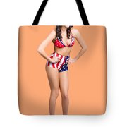 Full Body Pin-up Girl. American Retro Style Tote Bag