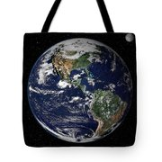 Full Earth Showing North And South Tote Bag