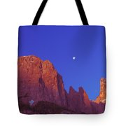 Full Moon At Dawn In The Dolomites Tote Bag