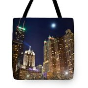 Full Moon Over Chi Town Tote Bag