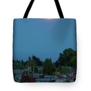 Full Moon Over Floating Homes On Columbia River Tote Bag