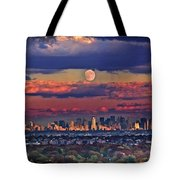 Full Moon Over New York City In October Tote Bag