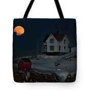 Full Moon Over Nubble Tote Bag