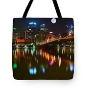 Full Moon Over Pittsburgh Tote Bag