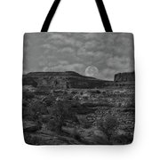 Full Moon Over Red Cliffs Bw Tote Bag
