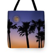 Full Moon Palm Tree Sunset Tote Bag