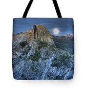 Full Moon Rising Behind Half Dome Tote Bag