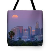 Full Moon Rising Over Downtown Los Angeles Skyline Tote Bag