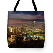 Full Moon Rising Over Downtown Portland Tote Bag