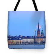 Full Moon Rising Over Gamla Stan Churches In Stockholm Tote Bag