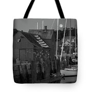 Full Moon Rising Over Motif  Number 1 Rockport Ma Black And White Tote Bag