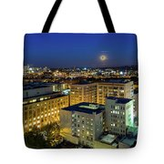 Full Moon Rising Over Portland Downtown Tote Bag