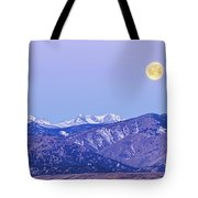Full Moon Setting Over The Colorado Rocky Mountains Tote Bag