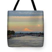Full Moonrise Over Mount Hood Along Columbia River Tote Bag