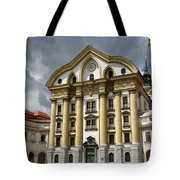 Full Sun On The Ursuline Church Of The Holy Trinity With Marble  Tote Bag