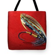 Fully Dressed Salmon Fly On Red Tote Bag