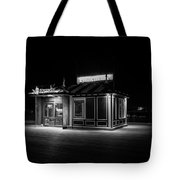 Funicular Ticket Booth At Night In Black And White Tote Bag
