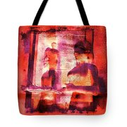 Funky Abstract Square Welcome Couple Red Pink Purple Lake City 1a Tote Bag