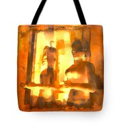 Funky Abstract Square Welcome Couple Sunny Yellow Lake City 1b Tote Bag