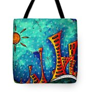 Funky Town Original Madart Painting Tote Bag