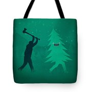 Funny Cartoon Christmas Tree Is Chased By Lumberjack Run Forrest Run Tote Bag