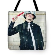 Funny Cleaner Man Ready For Action Tote Bag