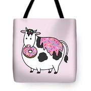 Funny Fat Holstein Cow Sprinkle Doughnut Tote Bag