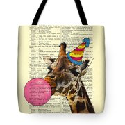 Funny Giraffe, Dictionary Art Tote Bag