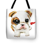 Funny Puppy Hand Painted Watercolor  Tote Bag