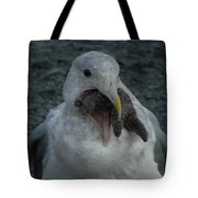 Funny Seagull With Starfish Tote Bag