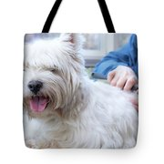 Funny View Of The Trimming Of West Highland White Terrier Dog Tote Bag