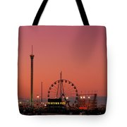 Funtown Pier At Sunset II - Jersey Shore Tote Bag by Angie Tirado
