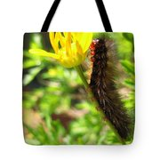 Furry Caterpillar On A Yellow Flower Tote Bag