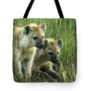 Fuzzy Baby Hyenas Tote Bag