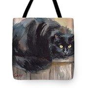 Fuzzy Black Cat Tote Bag