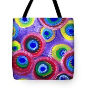 Fuzzy Purple Circles Tote Bag