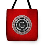 G - Silver Vintage Monogram On Red Leather Tote Bag